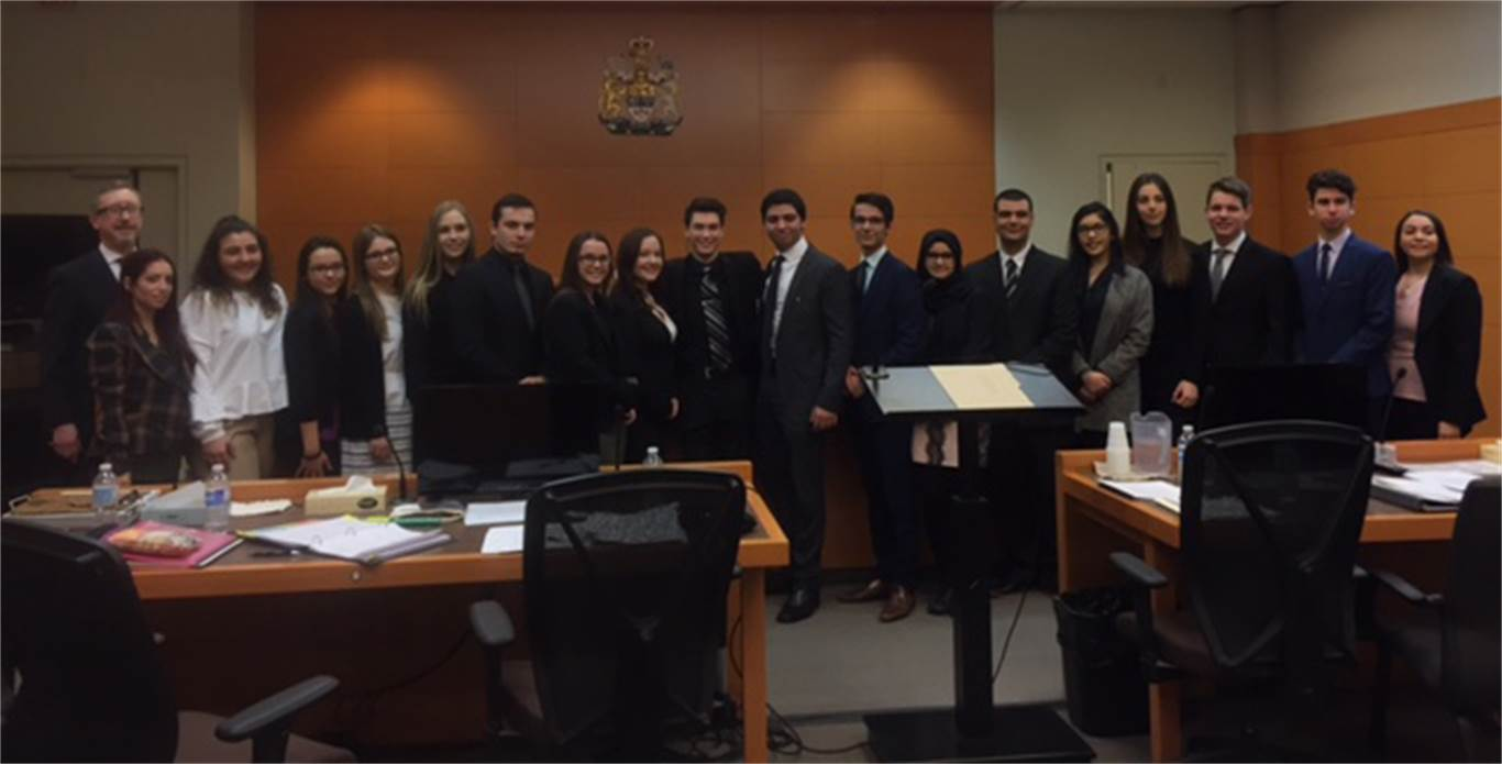 Students from three Catholic secondary schools (Cathedral, Bishop Ryan and St. Thomas More) participated in the OJEN's Competitive Mock Trials at the John Sopinka Courthouse on April 6 & 7.