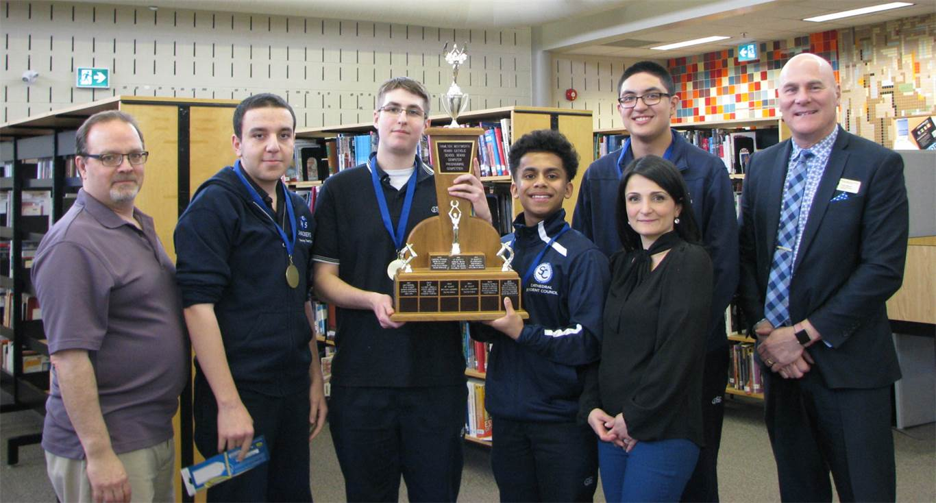 Cathedral placed 1st in the annual board Programmania competition. The team will advance to the regionals on April 29th.